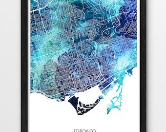 Toronto Map Poster Print, Toronto Canada Print, Toronto Urban Street Map Poster, Blue Watercolor Print, Home Wall Office Printable Art Decor