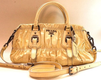 Prada Authentic Tessuto Gaufre Patent Leather Bag