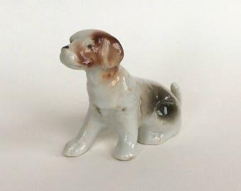Vintage Seated Dog Figurine, Porcelain, Ceramic, Made in Japan