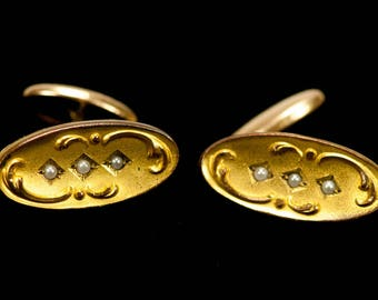 Antique Victorian Gold Gilt and Seed Pearl Cufflinks Repousse SIGNED