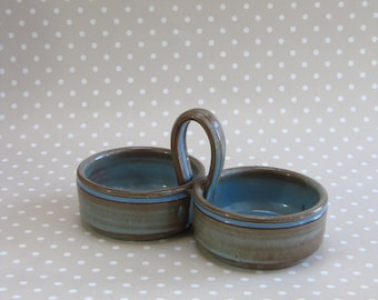 Vintage Retro Blue Glaze Brown Twin Condiment Sauce Prinknash Pots Dishes