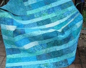 Quilt - Lap Quilt - Totally Teal Batik Lap Quilt - Batik Lap Quilt - Turquoise and Teal Quilt