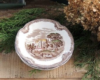Johnson Brothers Britains Castles Saucers Set of 3 Brown Multicolor English China, Romantic Farmhouse