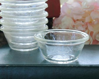 Fire King Clear Etched Glass Bowls Set of 6, Custard Bowls, Vintage Housewares, 6 Oz Bowls