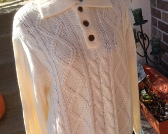 Vintage hipster 70s Sears Mens Tall Ivory Cable Sweater size xl free domestic shipping