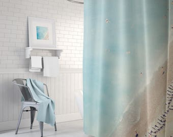 Ocean Themed Shower Curtain, Long Shower Curtain, Blue Shower Curtain,  Aerial Beach Curtain