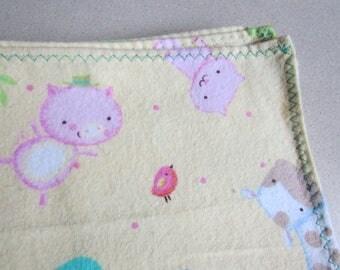 1-2-3, farm animals, Large flannel receiving blanket, swaddling / swaddler, gender neutral colors, baby girl or boy, reusable gift wrap