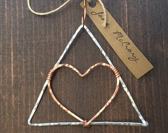 Heart of the Delta Ornament Hammered in Aluminum and Copper Christmas Ornament