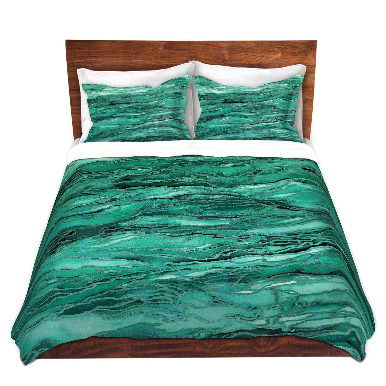 MARBLE IDEA Emerald Green Art Duvet Covers King Queen Twin