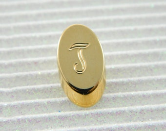 "Gold Monogram ""T"" Lapel Pin - Personalized Initial ""T"" Tie Tack"