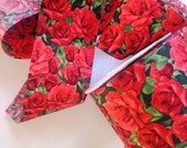 "Red Roses Cotton Ribbon Trim, Red, 2 1/2"" inch wide, 1 yard, For Mixed Media, Gifts, Scrapbook,  Home Decor, Accessories"