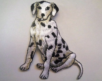 """Dalmatian Dog Iron-On Embroidered Applique,2 1/2""""  inch, White / Black, x 1, For Nursery, Apparel, Home Decor, Accessories, Mixed Media"""