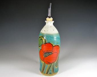 oil dispenser, olive oil cruet,handmade oil bottle, poppy patterns, ceramic, porcelain stoneware