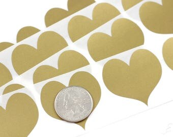 gold heart 150 inch scratch off stickers