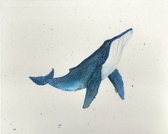 "Watercolor painting, ""Humpback Whale"", print, matted, backed, ready for framing"