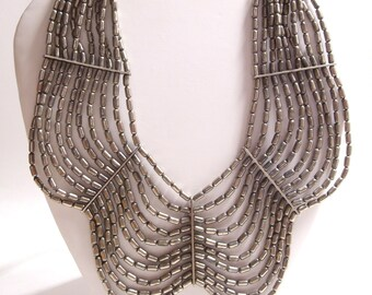 Egyptian Style Collar Bib Necklace in Silver Tone Pewter Color Metal