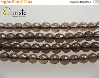 55% OFF Smoky quartz faceted round beads 6mm 6.5inch strand