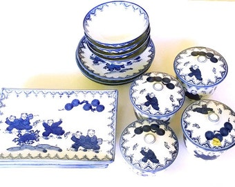 "FREE SHIPPING, Arita Porcelain dinnerware Set, Japanese ""old blue and white"" china, hard to find tableware, serves four, 20 matching pieces"