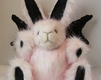 Plush Gothbunny Stuffed Bunny OOAK Fantasy Art Doll Plush Rabbit Easter Bunny White and Pink