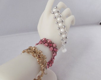 Dynasty Bracelet - Woven Glass Bracelet in Gold, Pink, or White with Self Clasp