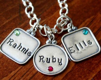 Birthstone Name Personalized Necklace- Mother's Necklace- Childs name necklace- sterling silver- hand stamped- Mother's Day Gift