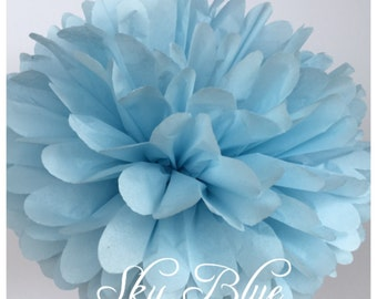 Tissue Paper Pompoms: Sky Blue-- Or Choose Your Colors-- Baby Shower/ Nursery/ Bedroom/ Party Decorations tissue pom