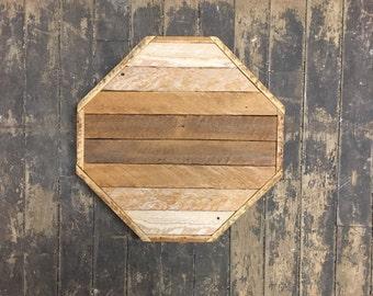 "Reclaimed Lath Wood Wall Art 12"" Octogon Natural Wood Patina Ombre"
