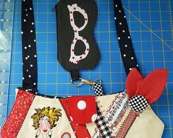 Loralie Design Salon Handbag, Hairdressers Handbag, Ladies Handbag, Beautian Handbag, Womens handbag, Shoulder Bag, Macine Embroidery Purse