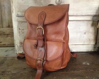 Leather Backpack Rucksack Vintage Artisan Rustic Cigar Sienna Light Brown