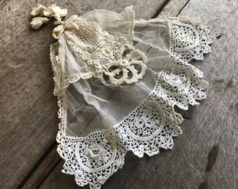 Antique Irish Lace Flounce Jabot Collar Neck Ruffle, Irish Crochet, Netting