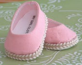 Pink Canvas Ballet flats for American Girl dolls