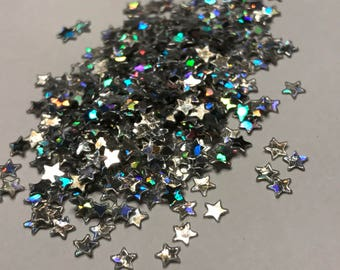 tiny silver star confetti / sequins, 3 mm (39)