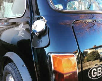 Personalized Leather Fuel Bib For Classic Mini, Black Color, Free Shipping