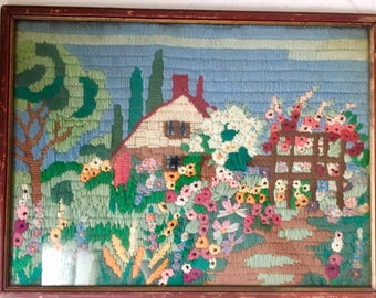 Vintage medium-sized crewel cottage and flower garden