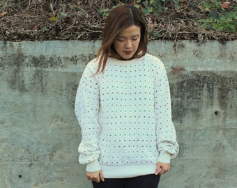 Vintage White Cotton Winter Sweater