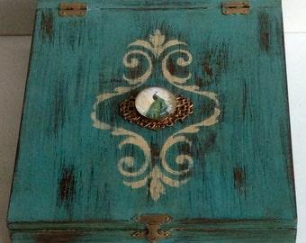 Vintage Wood Blue Writers/Storage Box 1940s
