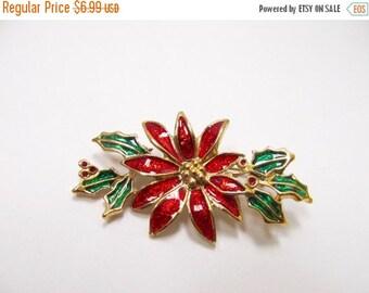 On Sale Enameled Christmas Poinsettia Pin Item K # 186
