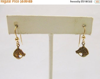 On Sale Brass Horse Head Earrings Item K # 2299