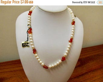 On Sale RICHELIEU Faux Pearl and Cornelian Stone Necklace Item K # 2923