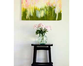 Pink Floral Painting, textured original art on linen canvas by Kirsten Gilmore