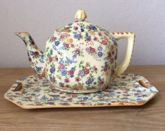 Vintage Chintz Teapot and Tray, Made in Japan