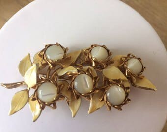 Vintage HAR Mother of Pearl Vine Pin with Enameled Leaves, Hargo Creations