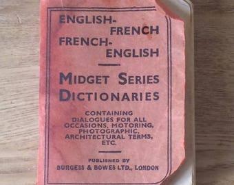 Vintage Dictionary, Burgess & Bowes Midget Series, English/French - French/English, Vintage 1950s