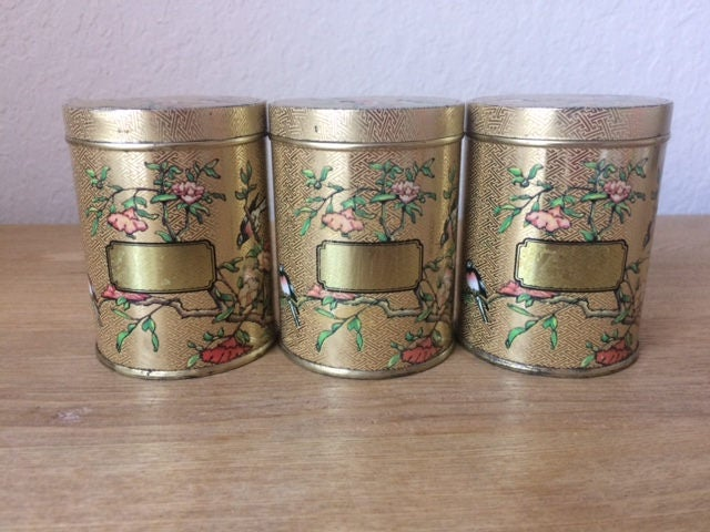 Vintage set of 3 floral dodo designs spice and herb tins for Retro kitchen set of 6 spice tins