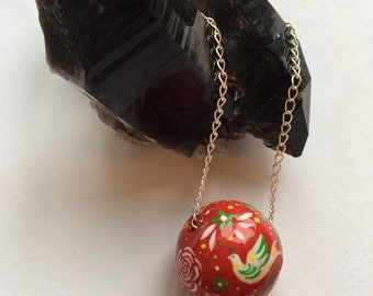 Red folk art pendant necklace