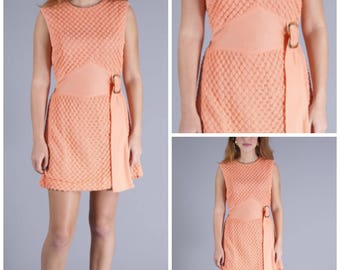 Gorgeous Vintage 60's Mod Mini Dress in Melon with Gold Buckle Detail