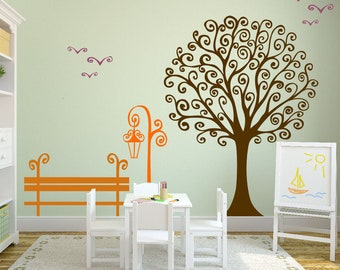 Swirly Tree Wall Decal Nursery Outdoor Woodland Family Scene Park Bench Birds Nursery Wall Birch Decal Art Set #1343