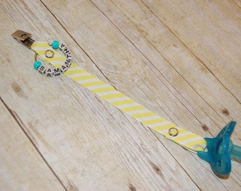 Pacifier Clip, Yellow & White Stripes, Personalization Available, Ready to Ship