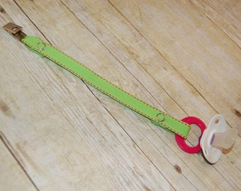 Pacifier Clip, Lime with Pink Saddle Stitch, Personalization Available, Ready to Ship