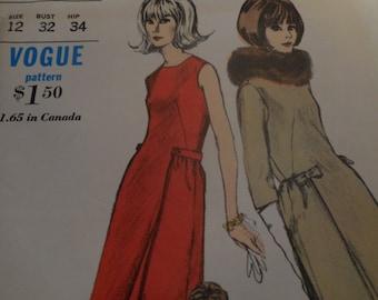 Vintage 1960's Vogue 6548 Dress Sewing Pattern, Size 12 Bust 32